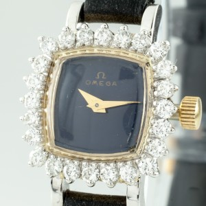 Omega 14K Yellow Gold Hand-Winding Diamond Bezel 19mm Vintage Womens Watch