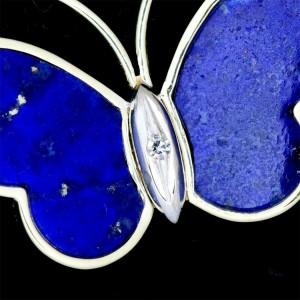 UNOAERRE 14k Yellow gold Diamond Lapis lazuli Necklace