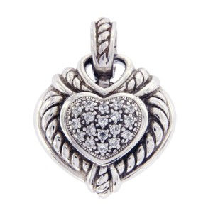 Judith Ripka 925 Sterling Silver Diamonique Heart Pendant