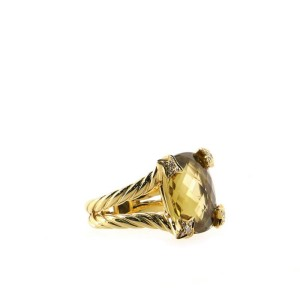 David Yurman Cushion on Point Ring 18K Yellow Gold with Diamonds and Lemon Quartz 15mm 6