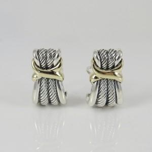 David Yurman Sterling Silver 14K Yellow Gold Wheat X Earrings