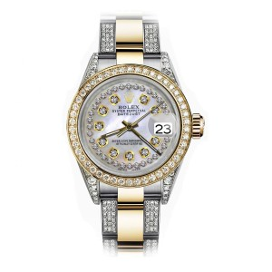 Rolex Pearl String 26mm Datejust Two Tone 18K Gold + SS + Side Diamonds Oyster Band + Bezel (Shelby Lynn Hill, MD)