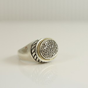Effy's Sterling Silver 18K Yellow Gold Oval Pave Diamond Dome Ring
