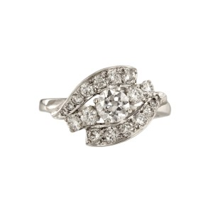 14K White Gold with 1.3ct Diamond Ring Size 7.75