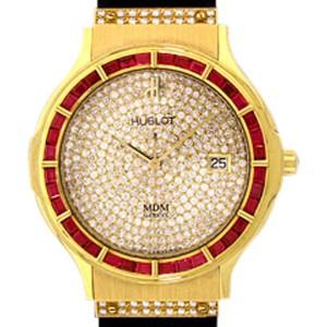 "Hublot ""Classic Elegance"" 18K Yellow Gold Ruby & Diamond Pavé Strap Watch"