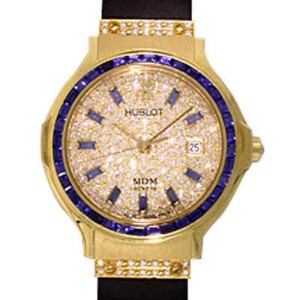 "Hublot ""Classic Elegance"" 18K Yellow Gold Blue Sapphire & Diamond Pavé Strap Watch"