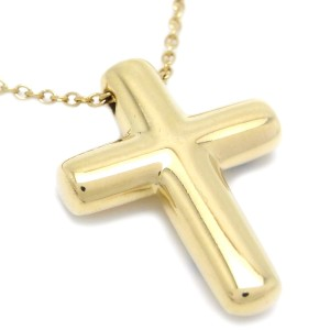 Tiffany & Co. 18K Yellow Gold Diamond Cross Pendant Necklace
