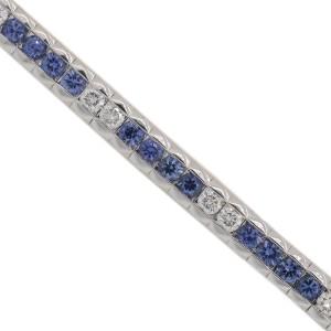 18K White Gold Diamond and Blue Sapphire Tennis Bracelet