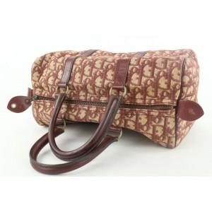 Dior Dark Red Burgundy Monogram Trotter Boston Duffle Bag 173da53