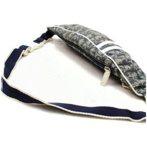 Dior 872024 Oblique Signature Trotter Monogram Waist Pouch Fanny Pack Belt Navy Blue Coated Canvas Cross Body Bag