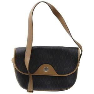 Dior 872395 Flap Monogram Oblique Signature Trotter Black Coated Canvas Cross Body Bag