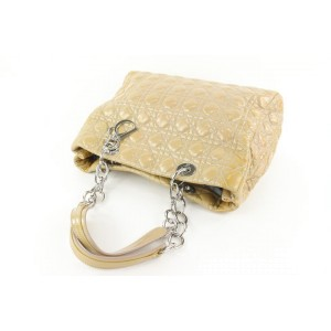Dior Beige Quilted Patent Leather Soft Shopping Chain Tote Bag 78da426