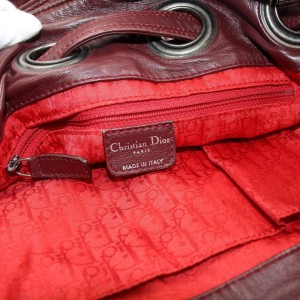 Dior Bucket Hobo Bordeaux Quilted Patent Drawstring 870154 Red Leather Shoulder Bag