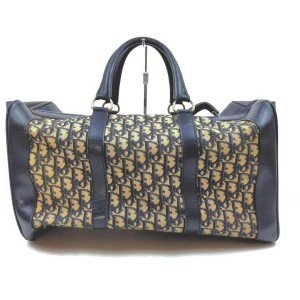 Christian Dior Navy Blue Monogram Trotter Boston Duffle bag 862426