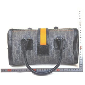 Christian Dior Navy x Orange Monogram Trotter Denim Boston Bag  863052