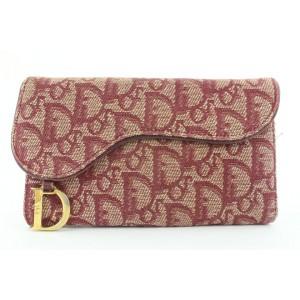 Dior Bordeaux Monogram Trotteur Saddle Flap Long Wallet 215da210
