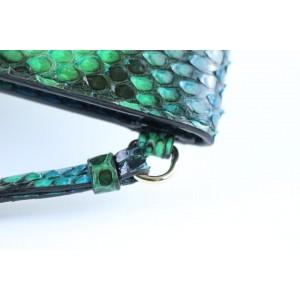 Dior Clutch Diorific 4dr1205 Green Python Skin Leather Wristlet