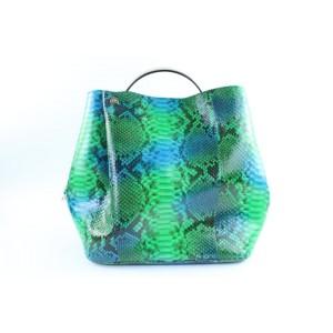 Dior Hobo Diorific 2way 3dr1205 Green Python Skin Leather Shoulder Bag