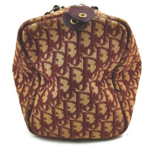 Christian Dior Burgundy Monogram Trotter Boston Duffle Bag 862605