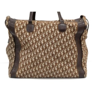 Dior Extra Large Boston Luggage Oblique Monogram Trotter 239577 Brown Canvas X Leather Weekend/Travel Bag