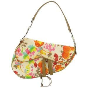 Dior Flap Floral Saddle 870551 Multicolor Canvas Shoulder Bag