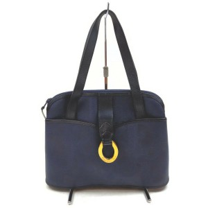 Christian Dior Navy Blue Lady Tote Shoulder Bag 862524