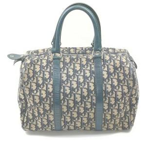 Christian Dior Navy Blue Monogram Trotter Boston Bag 862781