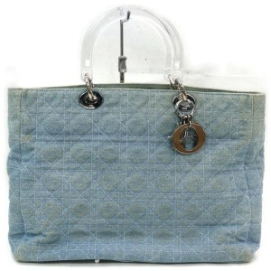 Dior Lady 872081 Quilted Cannage Blue Denim Tote