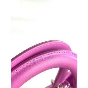 Dior Lady Cannage 2way Tote Lambskin Dark Fuschia Magenta 2da521 Purple Leather Baguette