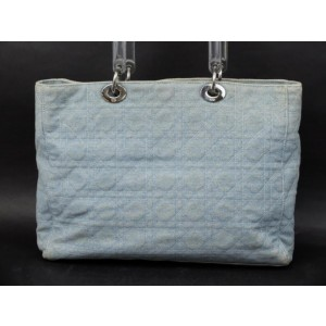 Dior Lady Quilted Cannage 2way 234591 Light Blue Denim Tote
