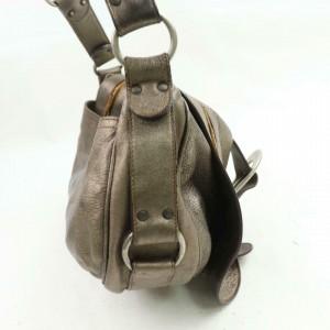 Dior Metallic Gold-pewter Gaucho Saddle Flap 871079 Gold Leather Shoulder Bag