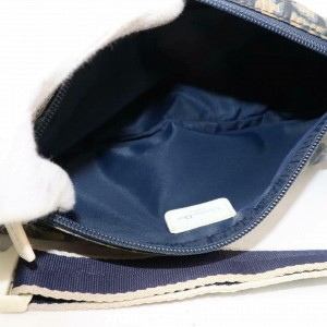 Dior Monogam Trotter Oblique Signature Belt Pouch Banana 870842 Blue Nylon Cross Body Bag