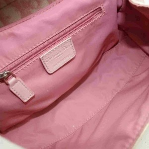 Dior Monogram Trotter Girly Chic Chain Flap 860072 Pink Coated Canvas Shoulder Bag