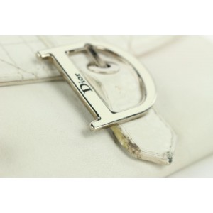 Dior Off-White Quilted Cannage LEather  Flap Wallet 3dior112