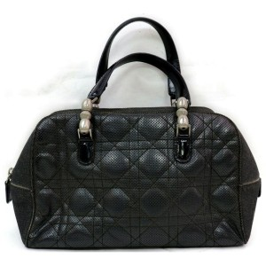 Christian Dior Black Quilted Cannage Boston 871845