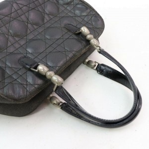 Dior Quilted Cannage Boston 871845 Black Leather Satchel