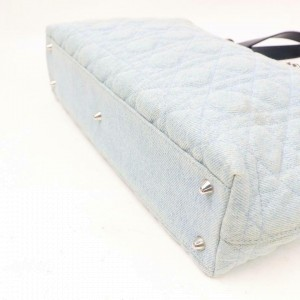 Dior Quilted Cannage Shopper 870873 Light Blue Denim Tote