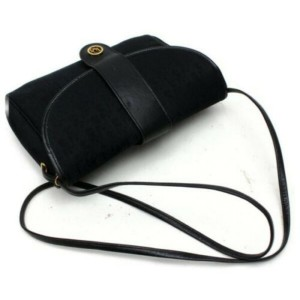 Dior Signature Monogram Trotter Flap 872856 Black Canvas Cross Body Bag