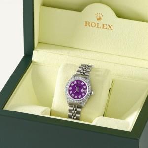 Rolex Datejust 26mm Steel Jubilee Diamond Watch w/Dark Purple Dial