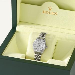 Rolex Datejust 26mm Steel Jubilee Diamond Watch w/Silver Dial