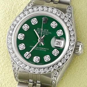 Rolex Datejust 26mm Steel Jubilee Diamond Watch w/Forest Green MOP Dial