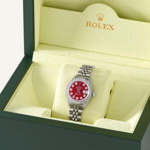 Rolex Datejust 26mm Steel Jubilee Diamond Watch w/Candy Red MOP Dial