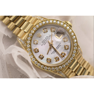 Rolex 26mm Presidential 18kt Gold White Mother Of Pearl Diamond Dial Bezel and Lugs 6917
