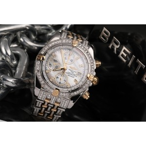 Breitling  Evolution Chronomat Two Tone Diamond Watch with Mother Of Pearl Diamond Dial B13356