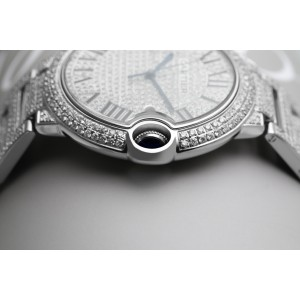 Cartier Ballon Bleu 42mm Stainless Steel Iced Out Watch W69012Z4
