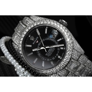 Rolex Sky Dweller Black Dial Stainless Steel 326934 Custom Diamond Watch