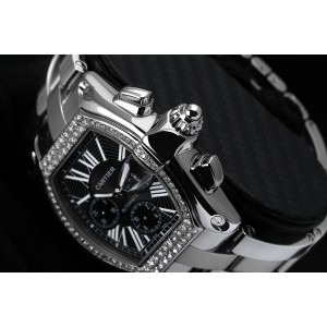 Cartier Roadster XL Chronograph Stainless Steel Diamond Watch Black Dial W62020X6