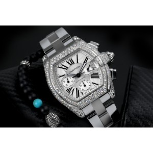 Cartier Roadster XL Chronograph Stainless Steel Diamond Watch Silver Dial W62020X6