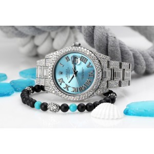 Rolex Datejust II 116334 Blue Roman Diamond Dial Stainless Steel Custom Diamond Watch