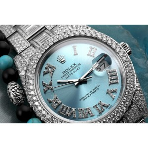 Rolex Datejust II 116334 Blue Roman Diamond Dial Stainless Steel Custom Diamond Watch